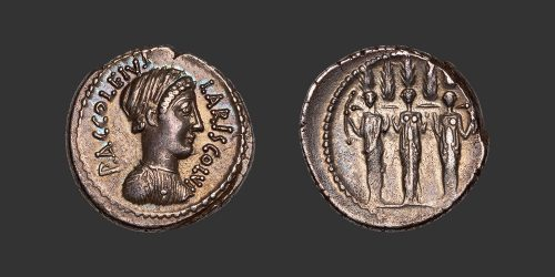 Odysseus Numismatique Monnaies Romaines République ACCOLEIA - P. ACCOLEIUS LARISCOLUS • Denier