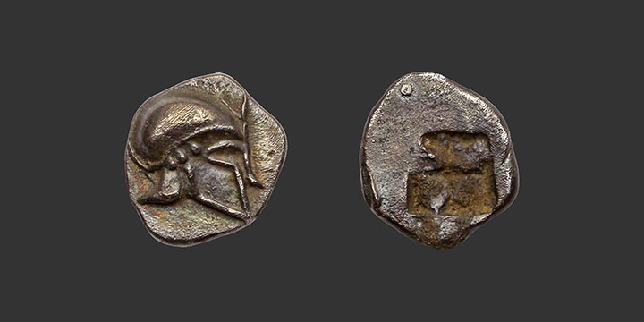Monnaie grecque du trésor d'Auriol, obole au casque ionien