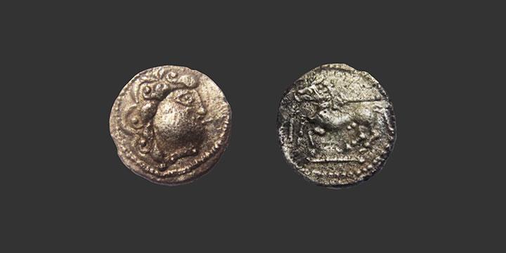 Monnaie gauloise drachme lourde inédite Bituriges