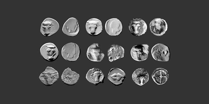 Monnaies ibériques d'Emporion, tête de taureau