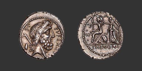 Odysseus Numismatique Monnaies Romaines République NONIA - M. NONIUS SUFENAS • Denier