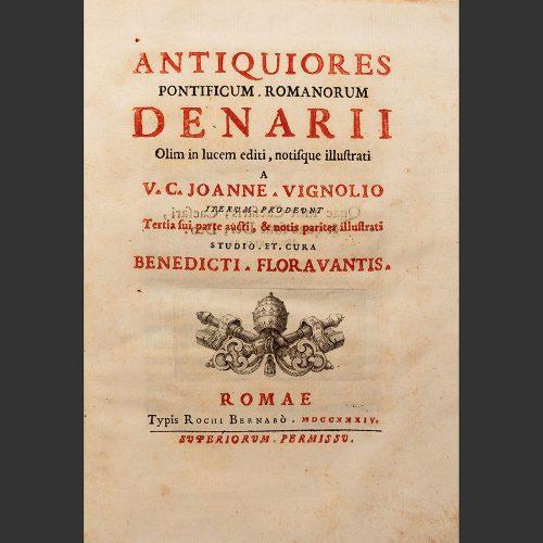 Odysseus Numismatique Livres Monnaies Médailles Papales Italiennes ANTIQUIORES PONTIFICUM ROMANORUM DENARII • Joanne Vignolio 1734