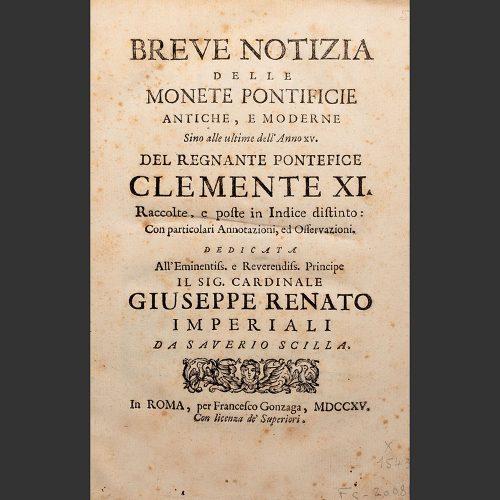 Odysseus Numismatique Livres Monnaies Médailles Papales Italiennes MONETE PONTIFICIE ANTICHE E MODERNE • Saverio Scilla 1715