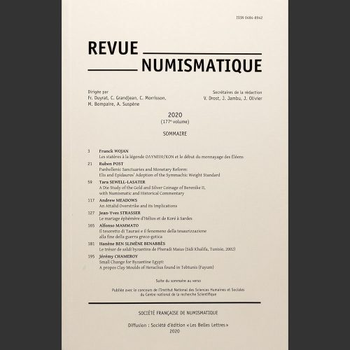 Odysseus Numismatique Livres REVUE NUMISMATIQUE 2020 • Société Française de Numismatique