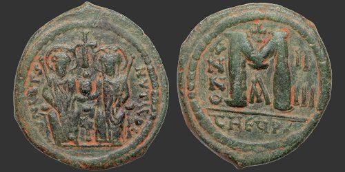 Odysseus Numismatique Monnaies Byzantines EMPIRE BYZANTIN - JUSTIN II & SOPHIE • Follis